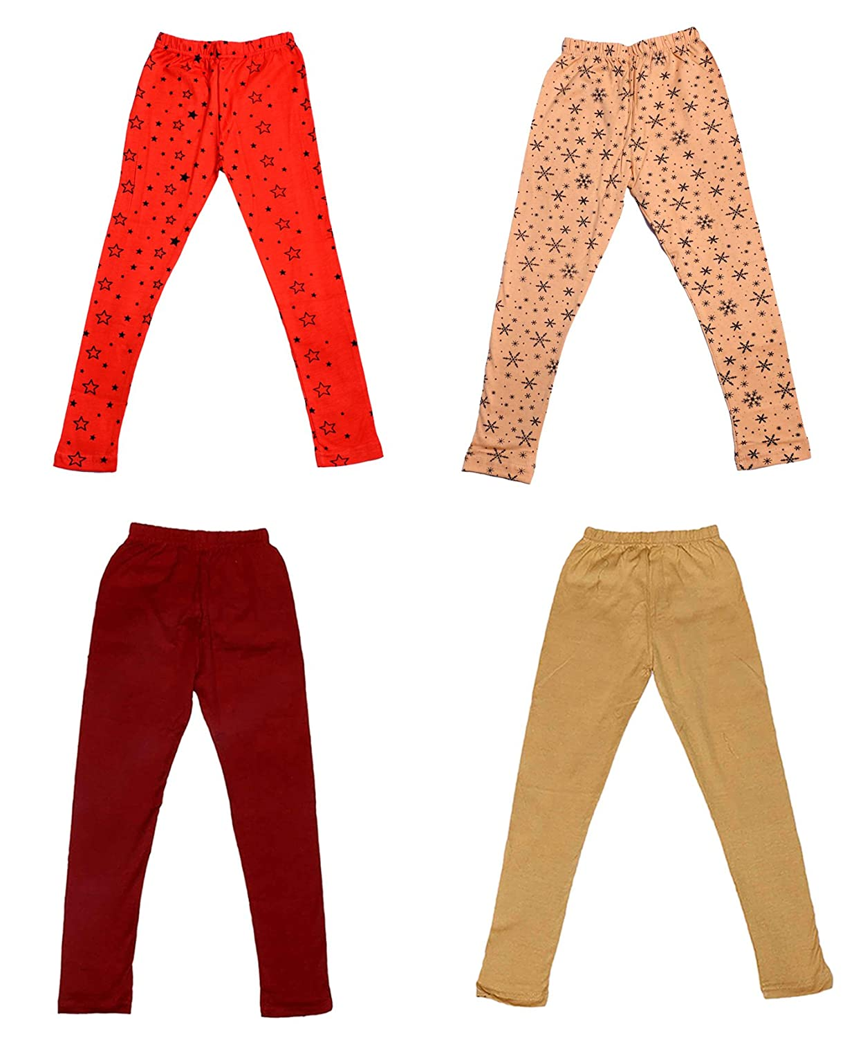 /_Multicolor/_Size-4-5 Years/_71400011619-IW-P4-26 Pack Of 4 Indistar Girls 2 Cotton Solid Legging Pants and 2 Cotton Printed Legging Pants