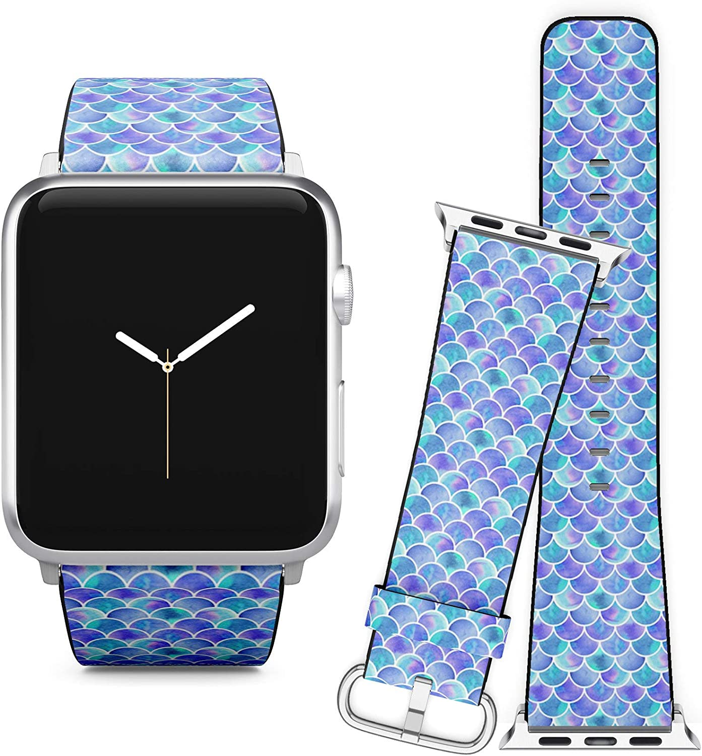 Compatible with Apple Watch (38/40 mm) Series 5, 4, 3, 2, 1 // Leather Replacement Bracelet Strap Wristband + Adapters // Watercolor Rainbow Scales Mermaid