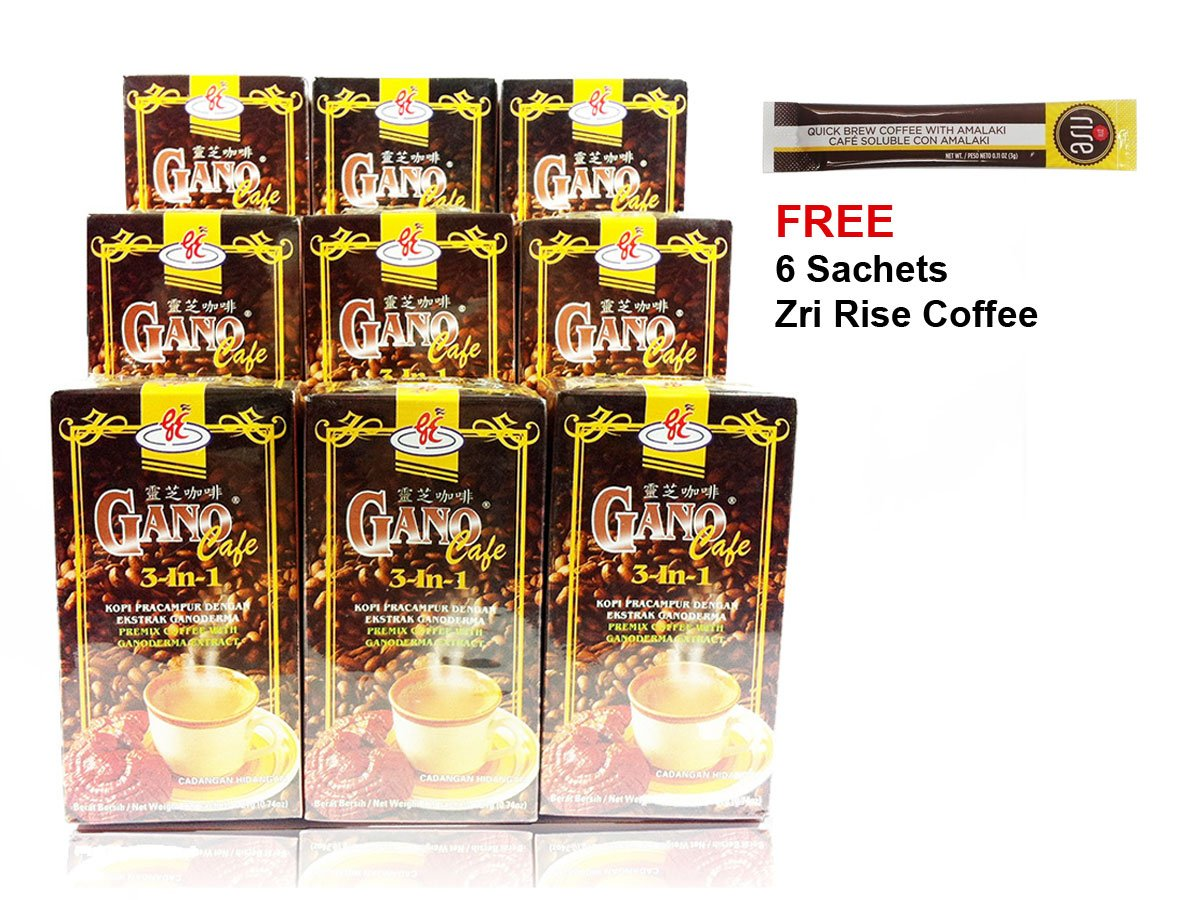 Gano Excel - 9 Boxes Gano Cafe 3 in 1 Instant Coffee with Ganoderma Plus FREE Sample + Free Express Shipping