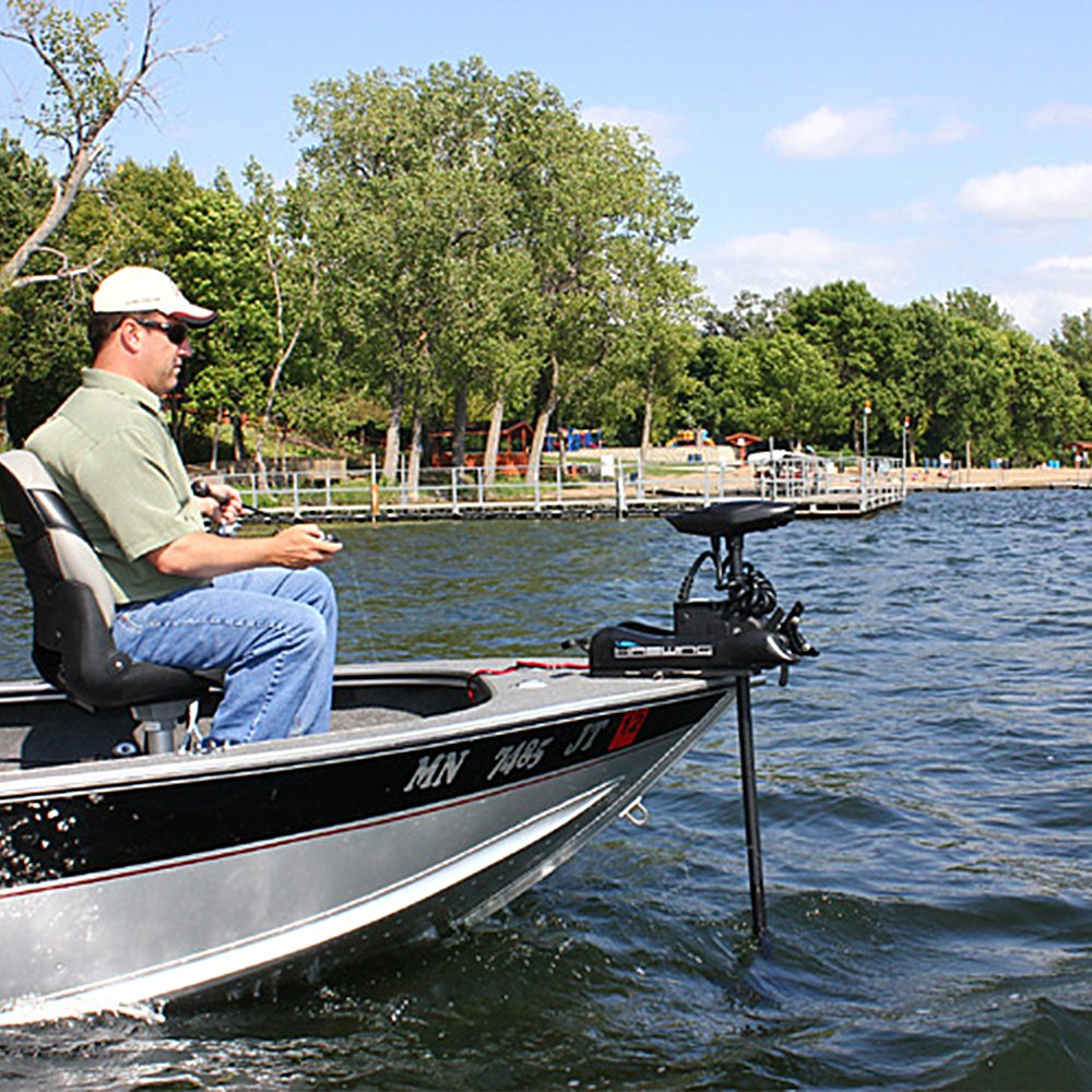 Haswing Cayman 12v 55lbs Bow Mount Electric Trolling Motor Black 54'' Shaft with foot control by Aquos
