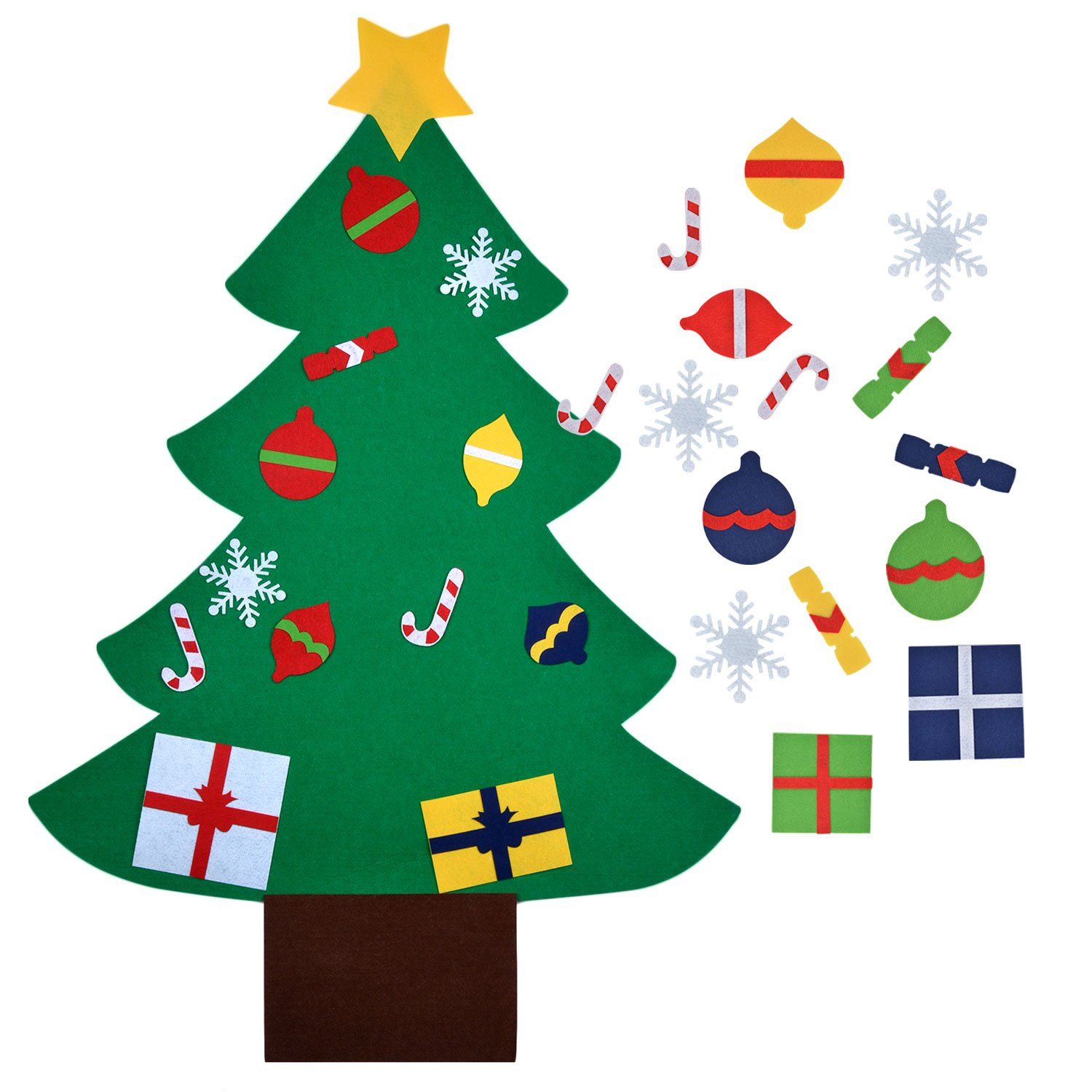 Coofit Felt Christmas Tree Decorations 3.3ft DIY Christmas Tree with 28 Pcs Ornaments Christmas Wall Decor with Hanging Rope for Kids Xmas Gifts Home Door Wall Decoration COOFTI