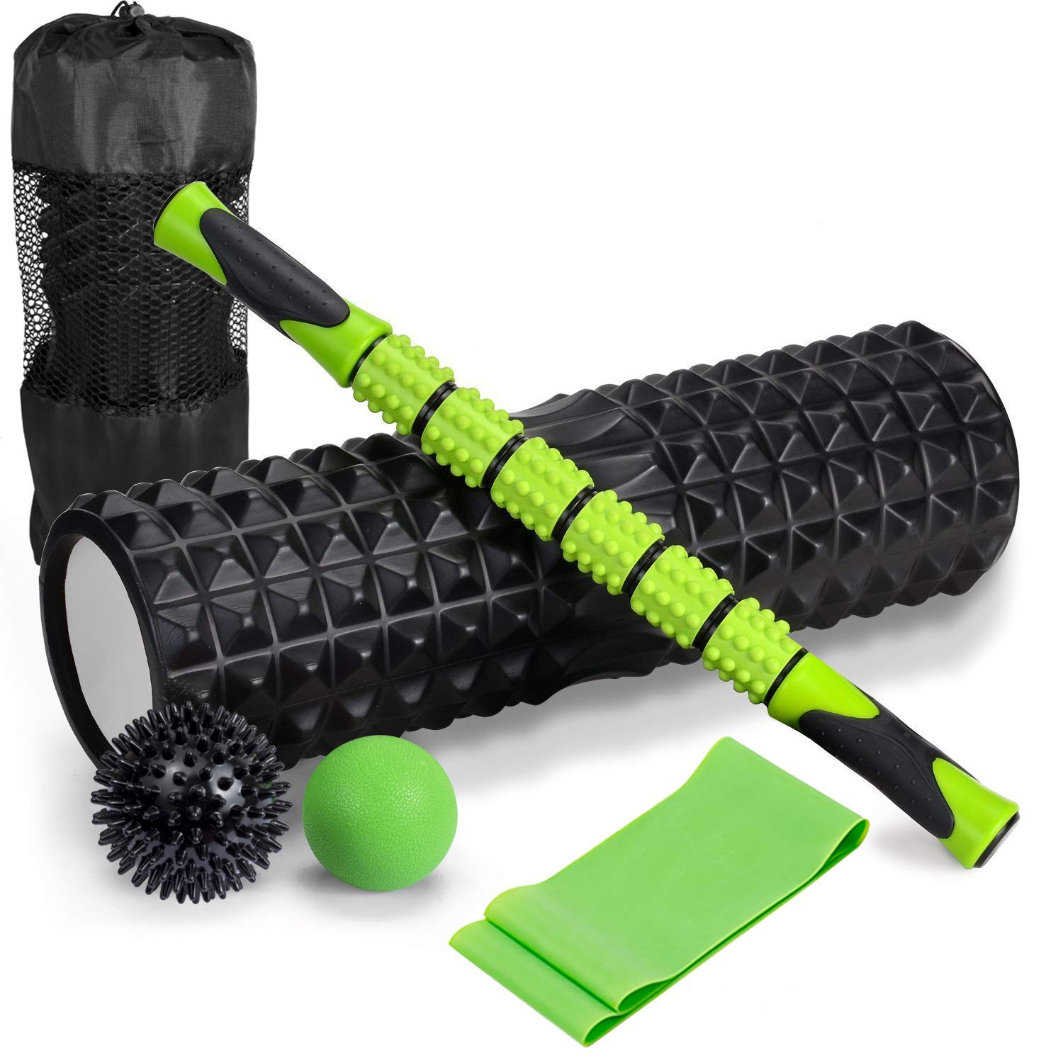 6 in 1 High Density Massage Foam Roller Kit 18'' Large Foam Roller with Muscle Roller Stick 2 Massage Balls & 1 Resistance Band for Avoid Physical Injury Prevention Stretching Yoga & Trigger Point
