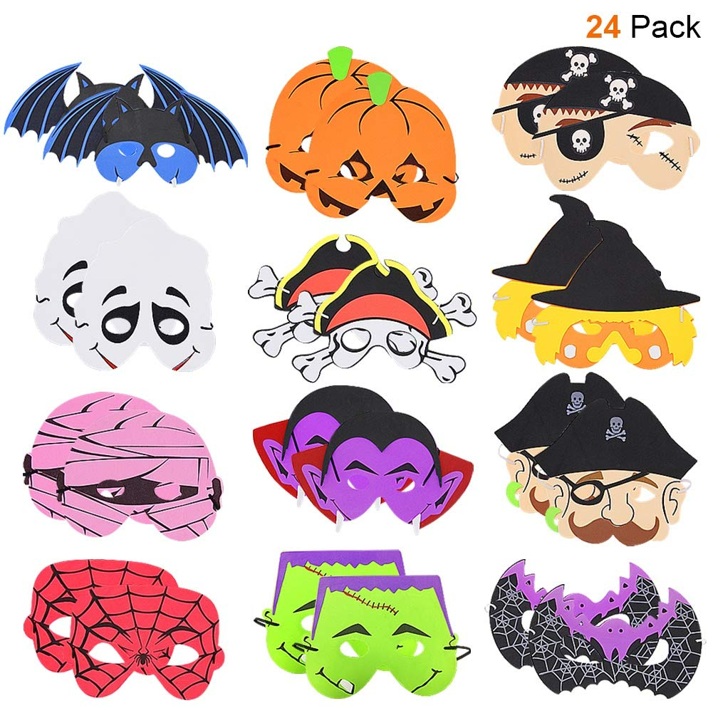ATDAWN 24 Pack Halloween Foam Mask, Halloween Mask Craft Kit, Halloween Kids Party Favors, Halloween Crafts Supplies, Halloween Prizes by ATDAWN