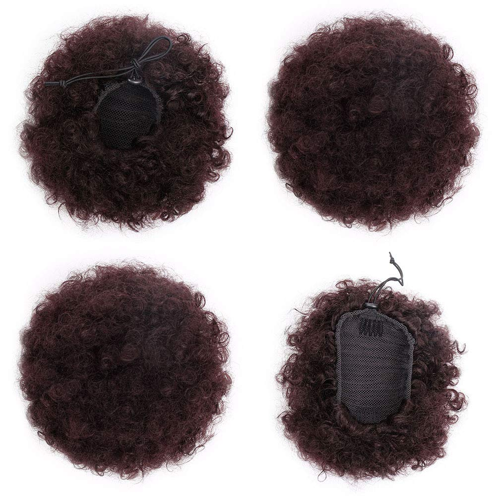 ForQueens High Puff Afro Ponytail Drawstring Short Afro Kinky Curly Pony Tail Clip in on Synthetic Curly Hair Bun Ponytail Wrap Updo Hair Extensions with 2 Clips(#99J) by ForQueens (Image #3)