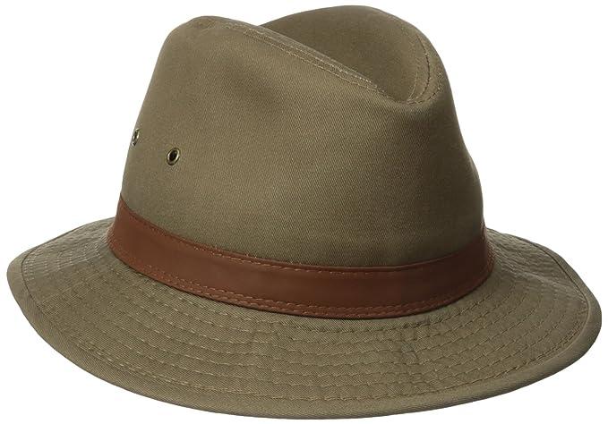30887f0f57a Dorfman Pacific Men s One-Piece Canvas Faux Leather-Trim Safari Hat ...