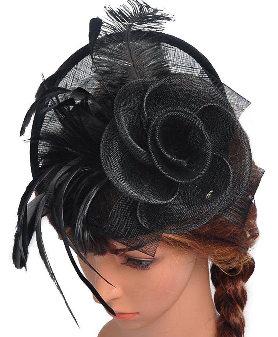 Z&X Sinamay Fascinator Headband Mesh Feather Flower Cocktail Pillbox Hat Black