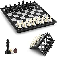 TAGPR Magnetic Chess Game Board Set with Folding Travel Portable Case 10X10X0.75 Inch