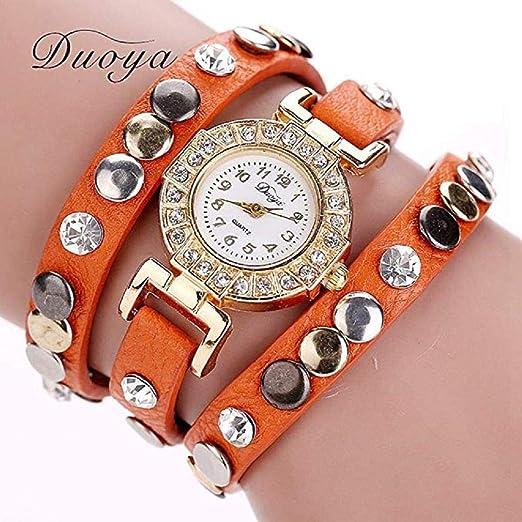 Scpink Reloj de para Mujer, Rhinestone Rivet Leather Three Circles Relojes de Cuarzo para Mujer de Moda Liquidación Relojes para Mujer Relojes de Mujer en ...