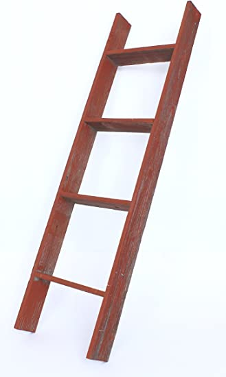 Barnwoodusa Rustic Farmhouse Blanket Ladder Our 4 Ft Ladder Can Be Mounted Horizontally Or Vertically And Is Crafted From 100 Recycled And Reclaimed Wood No Assembly Required Red Furniture Decor