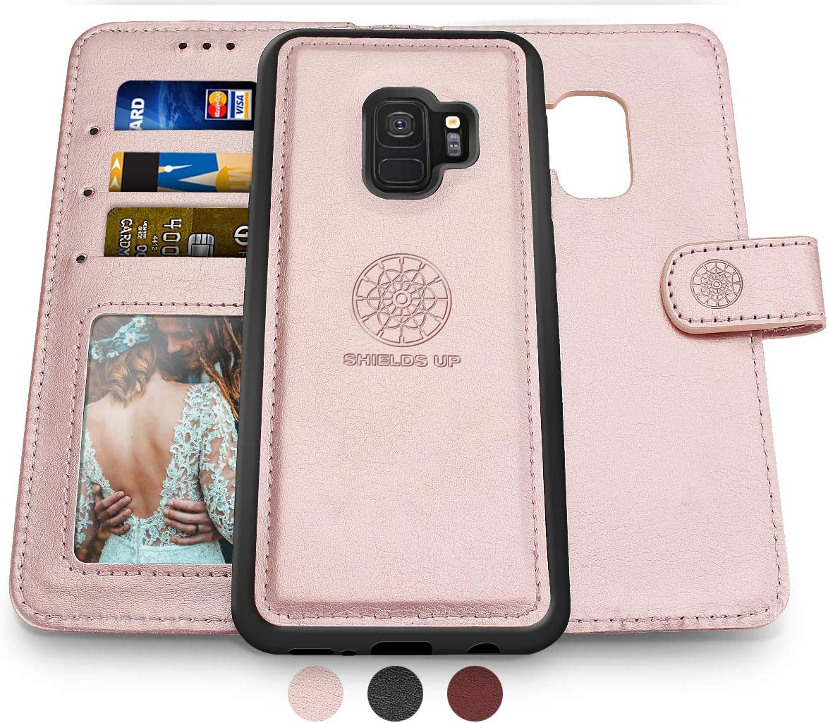 Shields Up Galaxy S9 Wallet Case, [Detachable] Magnetic Wallet Case, Durable and Slim, Lightweight with Card/Cash Slots, Wrist Strap, [Vegan Leather] Cover for Samsung Galaxy S9 -Rose Gold