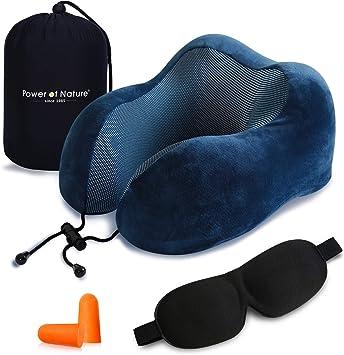 Almohada en Forma de U de Espuma de Memoria Suave con m/áscaras y Tapones para los o/ídos para Viajes hogar y Oficina-Azul Almohada de Cuello de Viaje