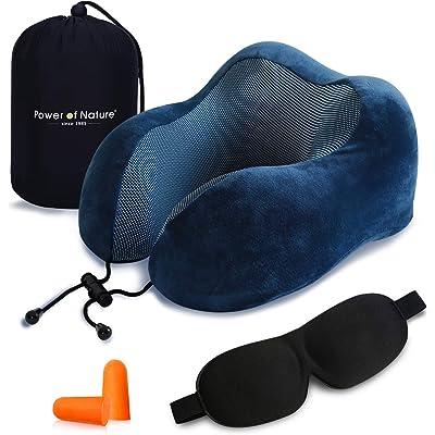 PON Almohada de Viaje Viscoelástica de Espuma de Memoria con Funda Lavable y Bolsa de Viaje Suave para el Cuello Soporte Cervical Ideal para el Uso del Avión y el Hogar (Azul)