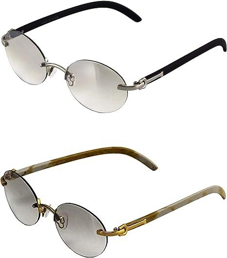 Men Women Wood Oval Designer Clear Lens Gold Frame Eye Glasses Retro Vintage