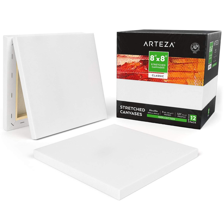 "ARTEZA 8x10"" White Blank Canvas Panels Boards Bulk Pack of 14 Primed 100/% for"