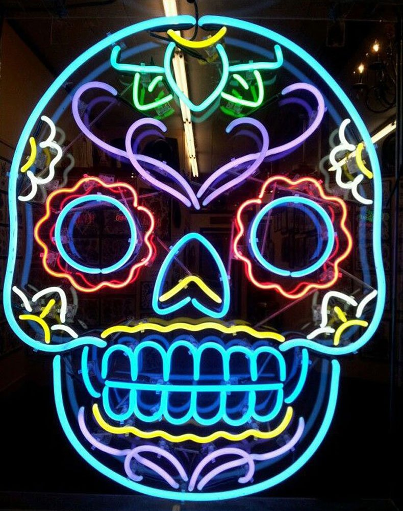 iecool Tattoo Skull Neon Sign 20''x24'' Real Glass Bright Neon Light for Tattoo Open Piercing