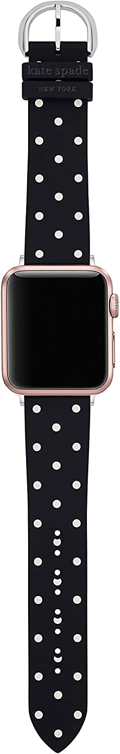 Kate Spade New York Interchangeable Silicone Band Compatible with Your 38/40MM Apple Watch- Straps for Use with Apple Watch Series 1,2,3,4 Black/Polka dot