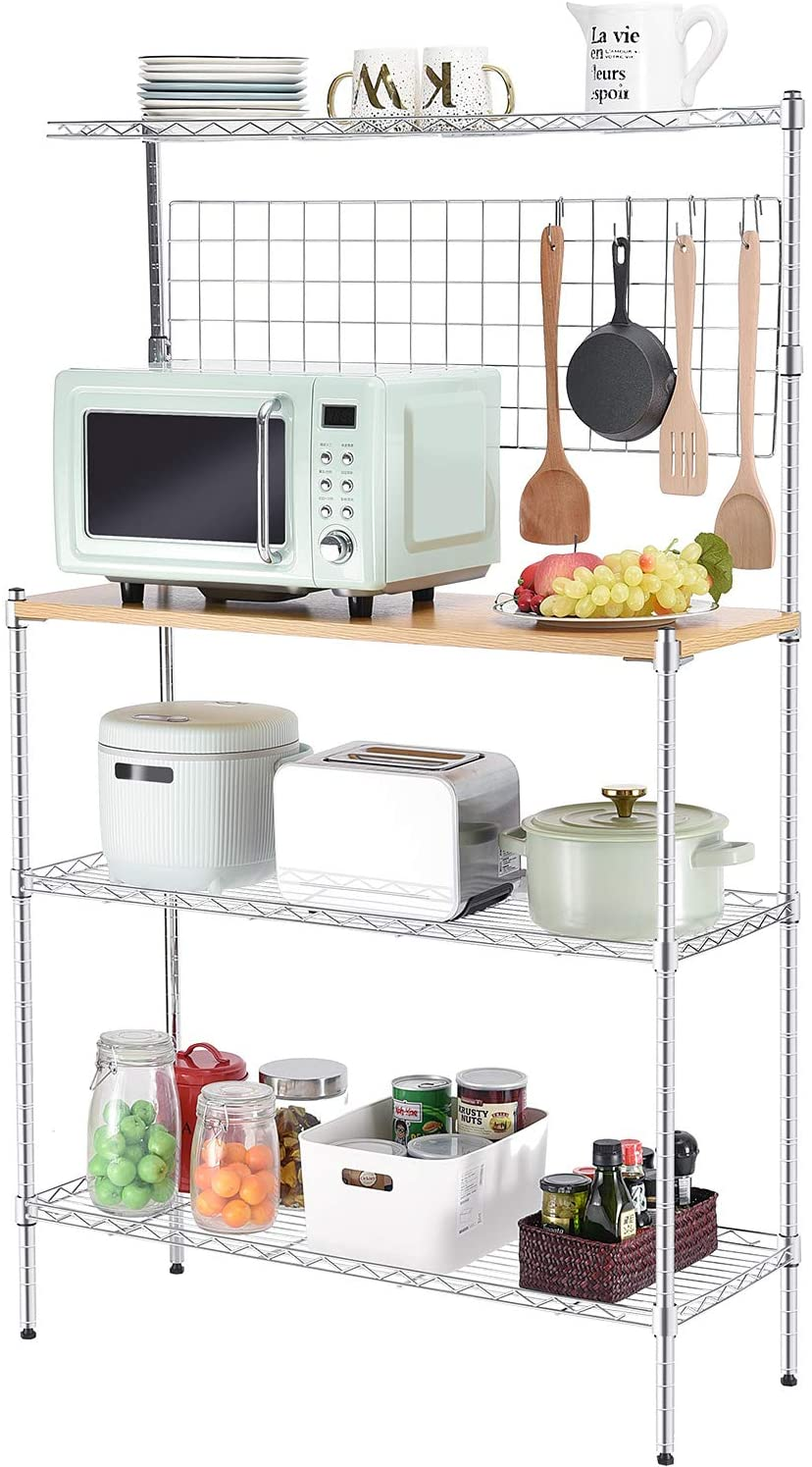 TOOLF Standing Baker's Racks with Wood Table, Kitchen Microwave Oven Stand, 4-Tier Metal Utility Storage Shelf with Mesh Panel, 6 Hooks, Height Adjustable Free Standing Rack for Kitchen, Garage