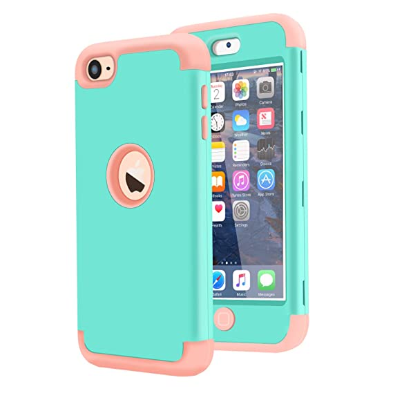 promo code 3f579 8b1f8 Dailylux iPod Touch 7 Case,iPod Touch 5 Case,iPod Touch 6 Case,3in1 Hybrid  Impact Resistant Shockproof Hard Soft Silicone Protective Cover for Apple  ...