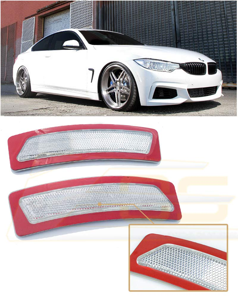 For 16-Up BMW F30 F31 3-Series BASE MODELS | 14-Up BMW F32 F33 F36 4-Series CLEAR LENS Front Bumper Reflector Side Marker Lights Turn Signal Lamps 2014 2015 2016 2017 14 15 16 17 Extreme Online Store