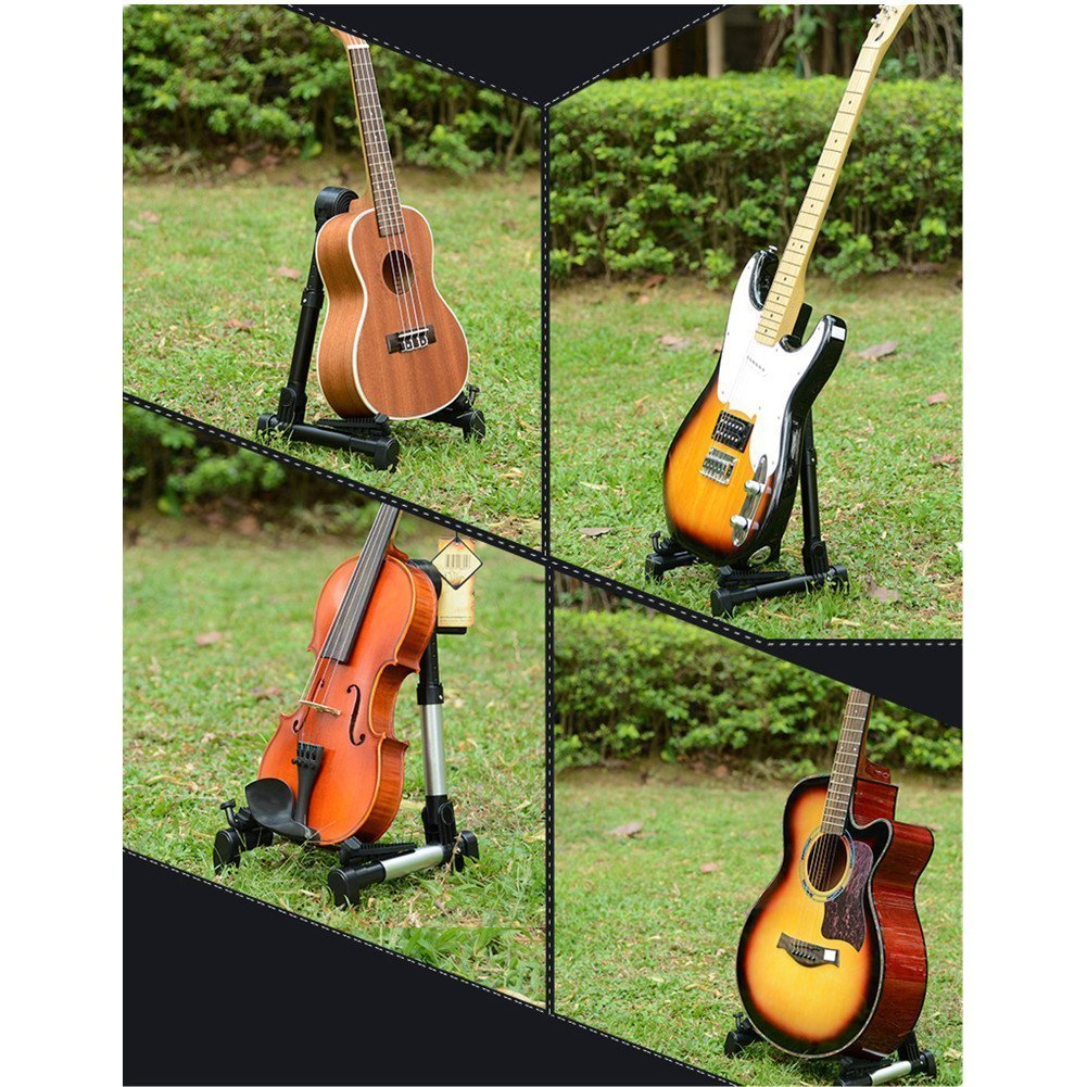 Guitar Stand, Guitar Accessories - Upgraded Folding A-Frame Instruments stand for Acoustic / Electric / Classical Guitar, Bass, Banjo (Black)