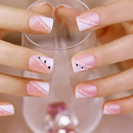 ArtPlus Uñas postizas 24pcs Elegant Pink Lace Crystals False Nails French Manicure Full Cover Medium Length