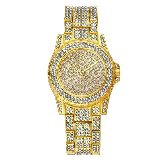 Amazon.com  SINOBI Iced Out Watch Diamond Quartz Geneva Women Men ... e372dfa767
