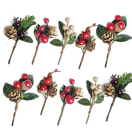 Christmas Flower Arrangements.Amazon Com Idoxe Small Artificial Pine Picks For Christmas