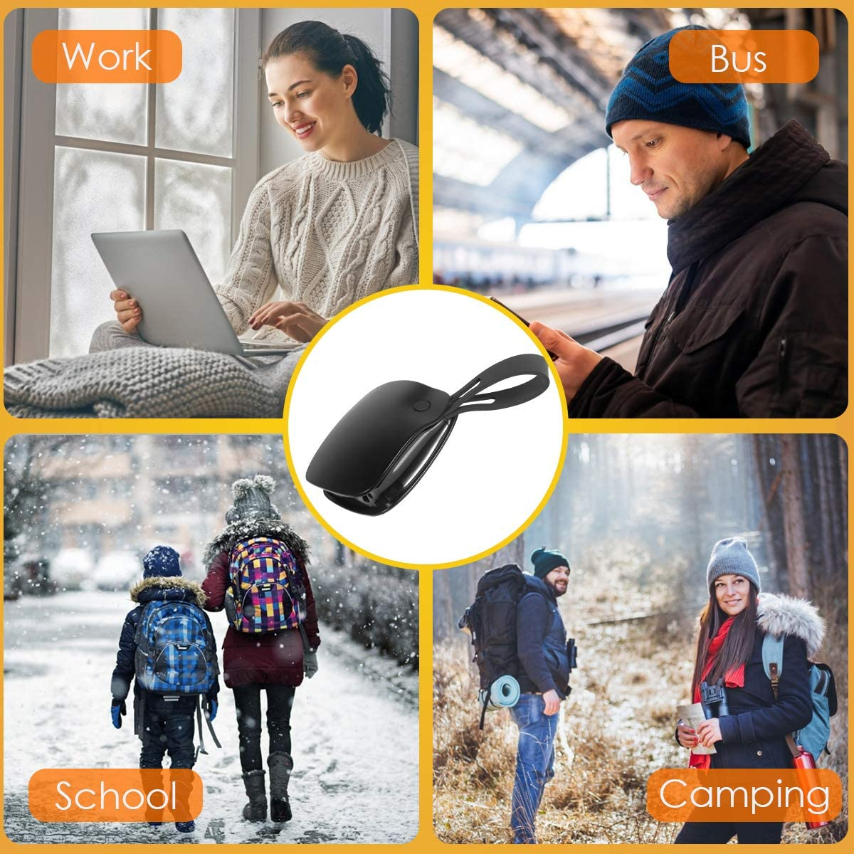 Rechargeable Hand Warmers Best Gifts for Men and Women in Cold Winter 5000mAh Electric Portable Pocket Hand Warmer 2 Adjustable Heat Levels Reusable Power Bank
