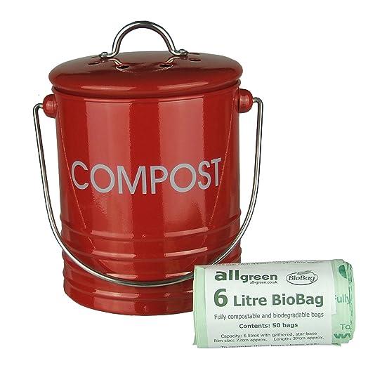 red metal mini kitchen compost caddy u0026 50x allgreen biobags composting bin for