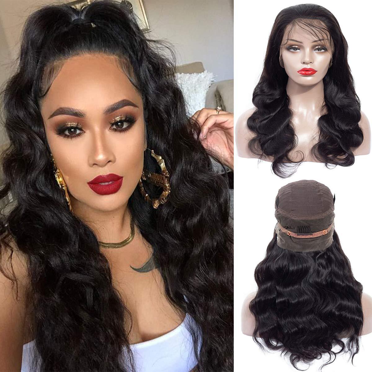 Human Hair 360 Lace Frontal Wigs 14 Inch Brazilian Virgin Lace Front Wigs Human Hair Pre Plucked With Baby Hair For Black Women Natural Black Color(14 inch, 150% Density) by shangzhixiu