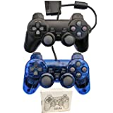 Wired Controller for PS2 Playstation 2 Dual Shock(Pack of 2,Black and ClearBlue)  (Color: Black and Clear Blue)