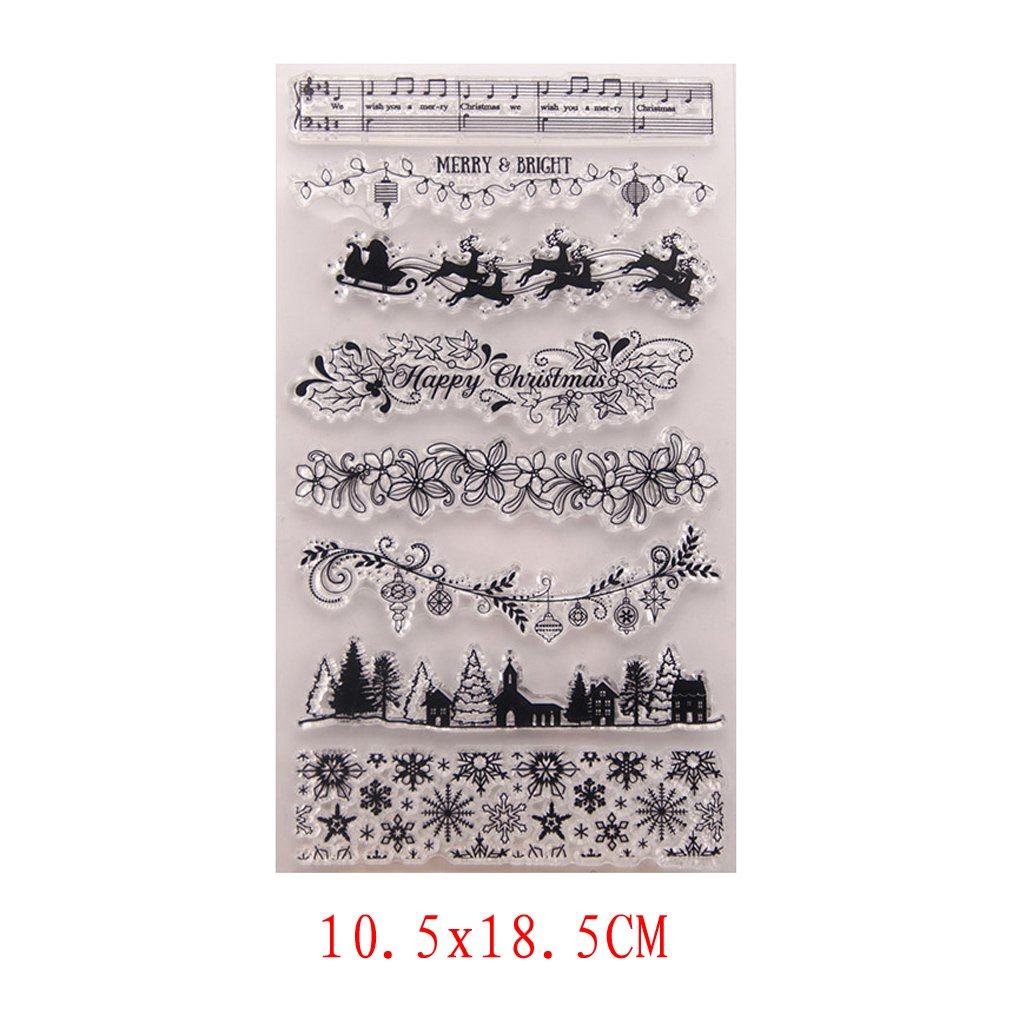 Seaskyer Christmas Theme Clear Stamps for DIY Scrapbooking Album Paper Card Making,Scrapbook Embossing Album Decor Craft (Christmas Tree and Deer