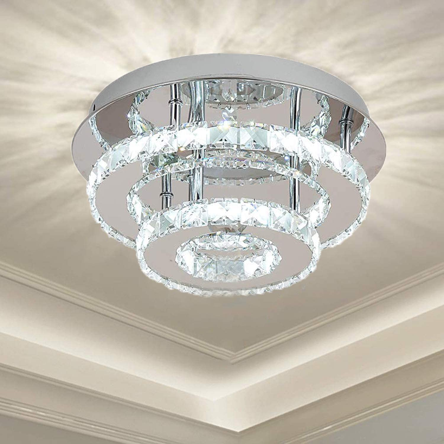 Ganeed Crystal Ceiling Light,Flush Mount Ceiling Lights Fixture,Modern LED  Ceiling Lamp Chandelier Lighting for Dining Room Bedroom Living Room