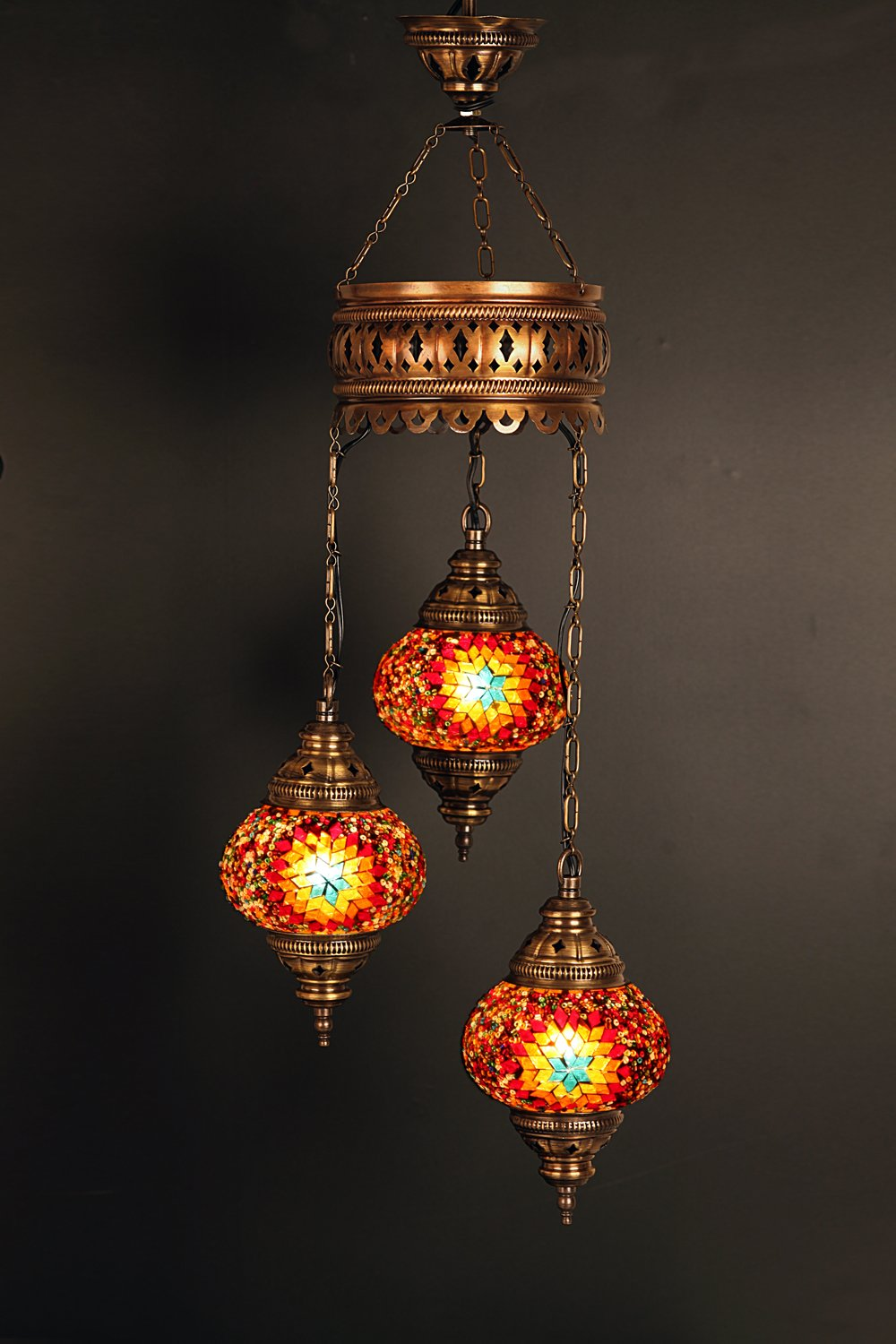 (Height: 23.6 in) Mosaic Chandelier Set 3 Globes, Handmade Authentic Tiffany Lighting Moroccan Lamp Glass Stunning Bedside Night Lights Brass&Glass Ottoman Turkish Style