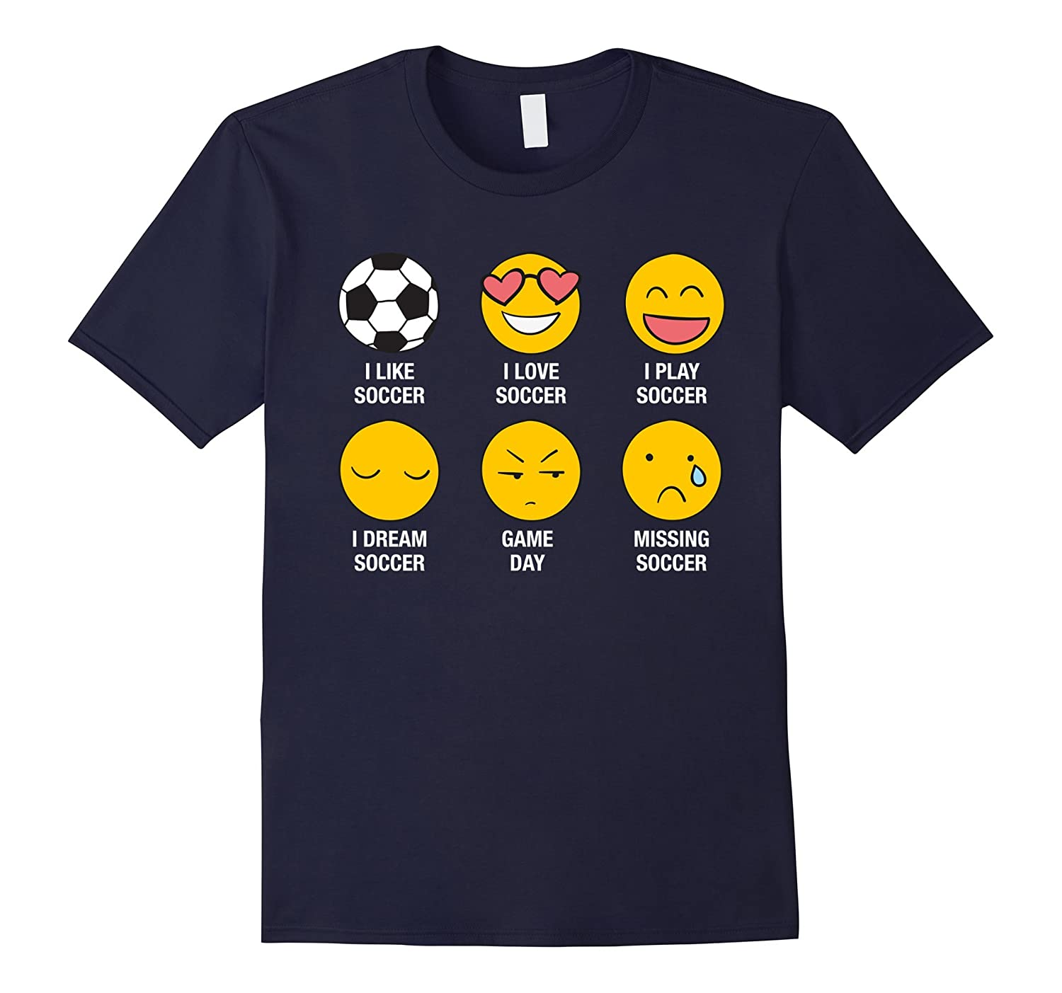 Soccer Emoji Love Funny Jersey Emoticon Graphic Tee Shirt-Art