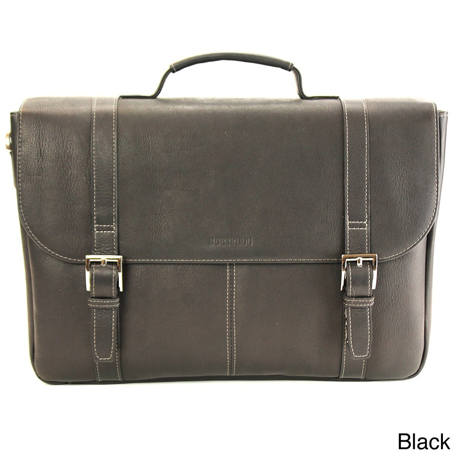 Black Leather Attorney Briefcase, Lawyers Messenger Bag Business Laptops
