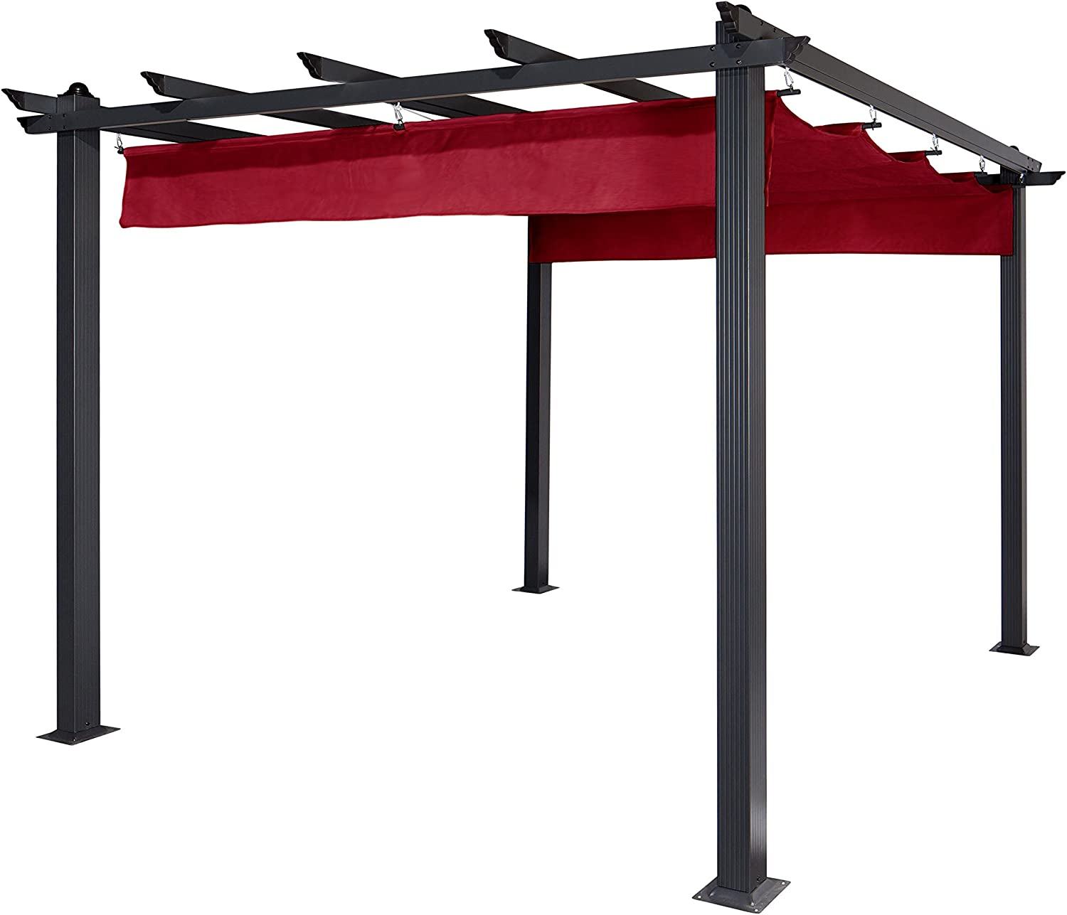 ALEKO PERGBURG Grape Trellis Pergola Outdoor Canopy Pool Garden Patio Gazebo 9 x 9 Feet Burgundy and Black