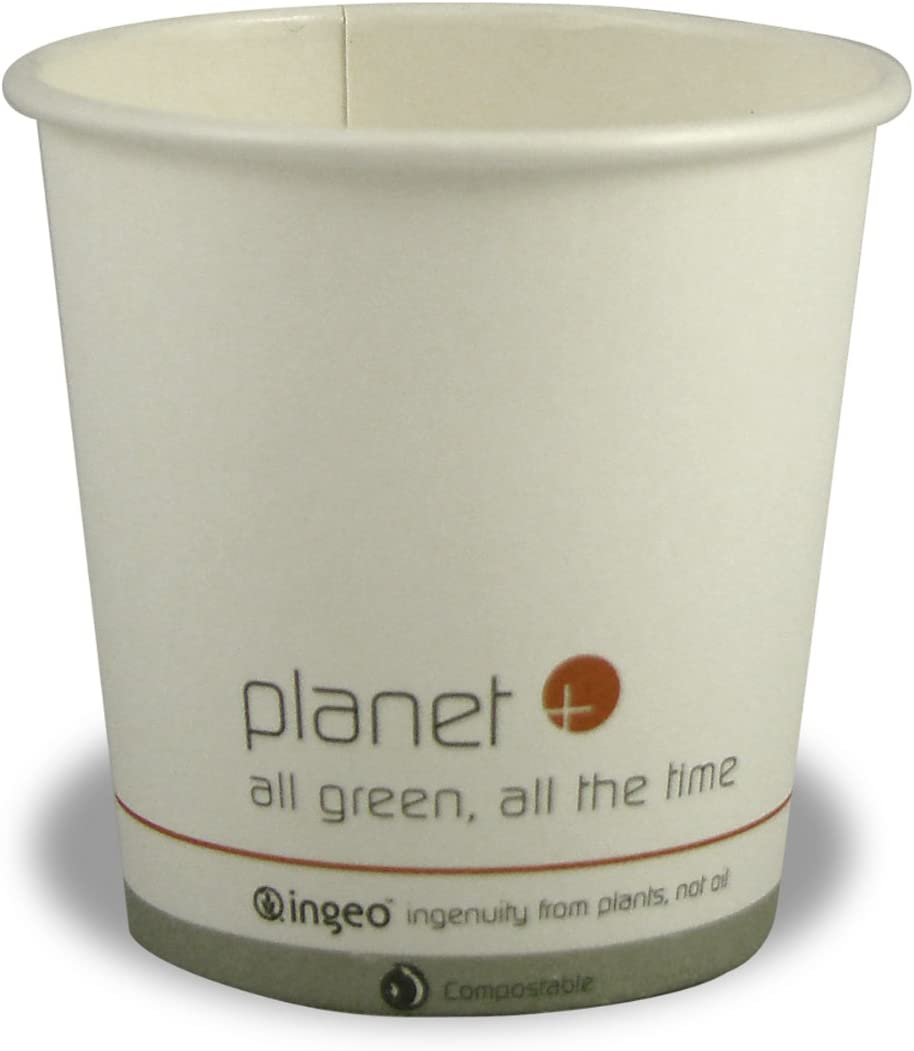 Planet + 100% Compostable PLA Laminated Hot Cup, 4-Ounce, 1000-Count Case