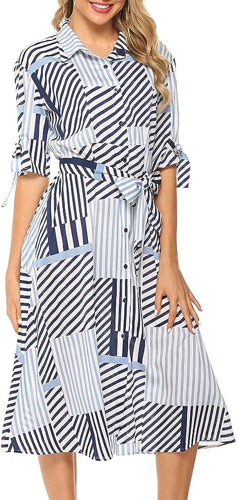 Vestidos Mujer Camisa Delgada Moda 2019 Sexy Solapa Geométrico Cinturón Manga Larga Vestir Tipo A: Amazon.es: Ropa y accesorios