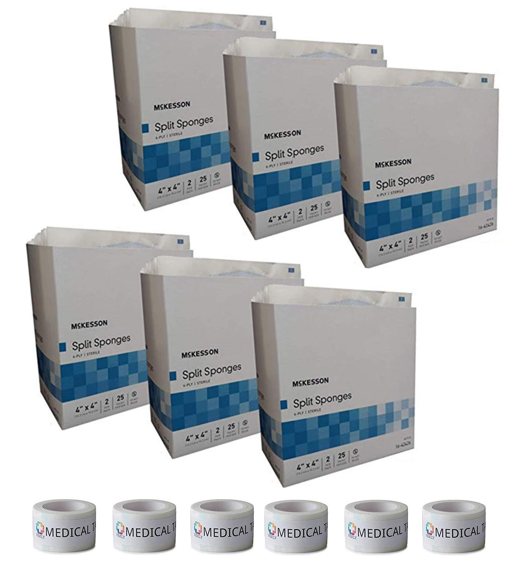 Sterile 4''X4'' 6 Ply Split Drain Sponge 6 Packs of 25 Packs of 2 + 6 Rolls of Vakly Medical Tape (6) by Vakly