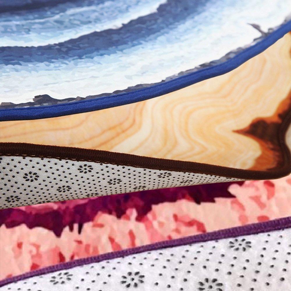 T-homeidea Alfombra Alfombra De Terciopelo De Cristal Nórdico Anillo De Madera Redondo Alfombra 3D Alfombra De Estudio De Sala De Estar (Color : Gris, ...