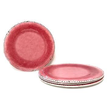 Rustic Crackle Melamine Dinner Plates Set of 4 (Dinner Plate 10.5 in. Pink  sc 1 st  Amazon.com & Amazon.com | Rustic Crackle Melamine Dinner Plates Set of 4 (Dinner ...