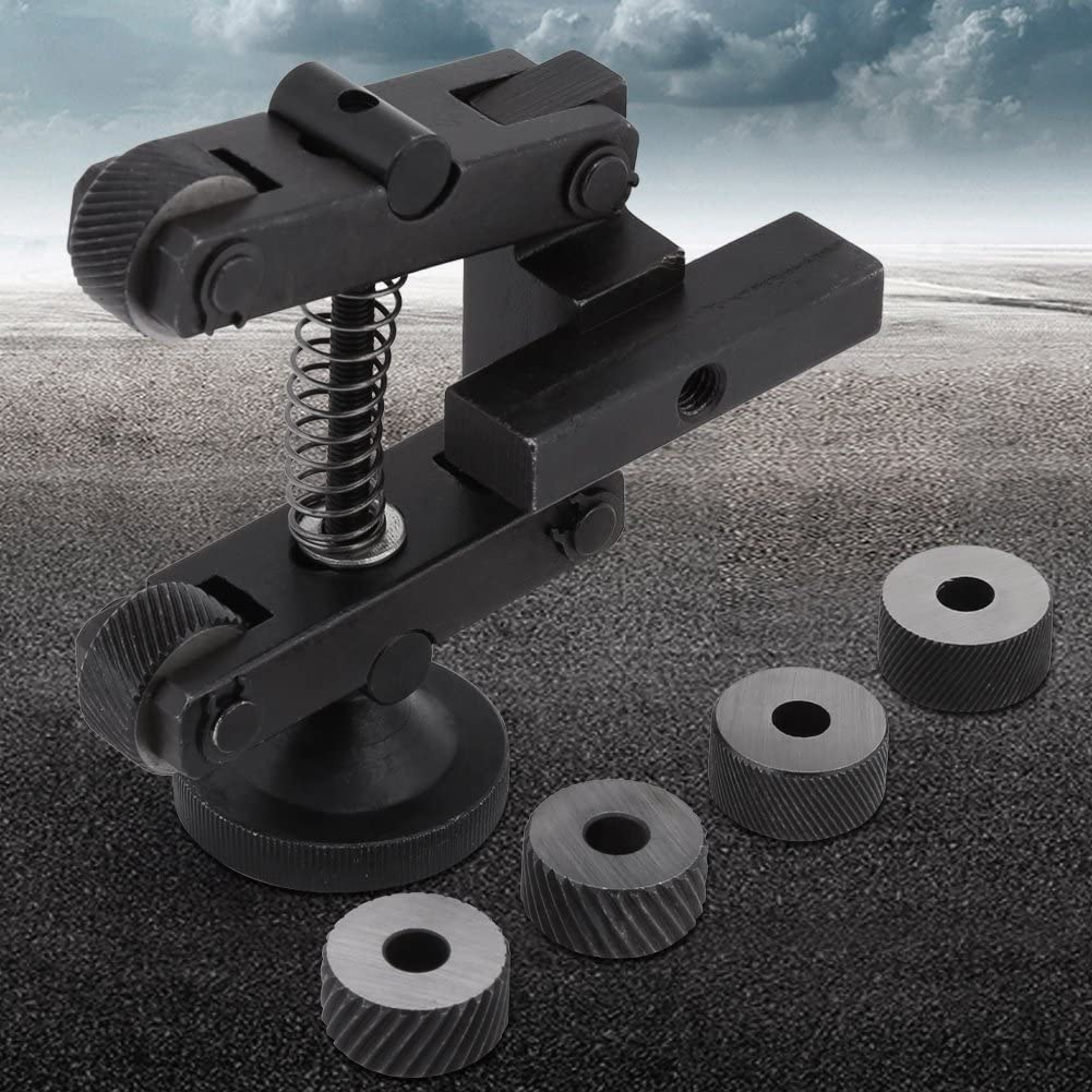 CR15 Carbon Steel Lathe Adjustable Shank Holder Linear Knurl Tool with 4pcs Spare Knurling Wheels and 2pcs Wheels for Mini Lathe Industrial Tools Black Knurling Tool