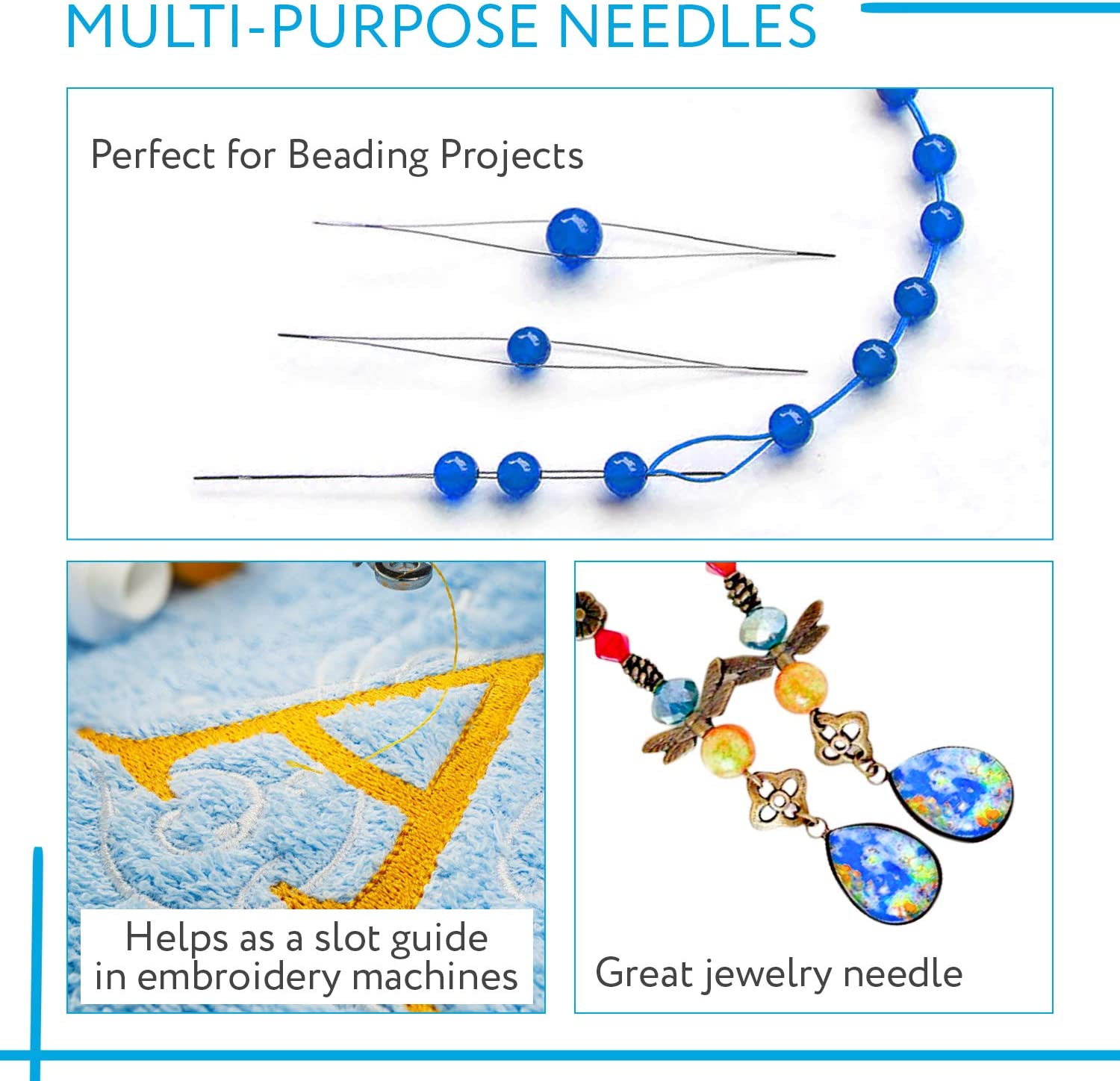 Includes Needle Tube 15 Pack Big Eye Beading Needles 3 Sizes Reduces Fumbling Easy to Thread Great for All Jewelry Making and Beading Projects