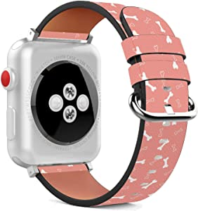 Compatible with Apple Watch - 38mm / 40mm (Serie 5,4,3,2,1) Leather Wristband Bracelet with Stainless Steel Clasp and Adapters - Peach Dog Bone