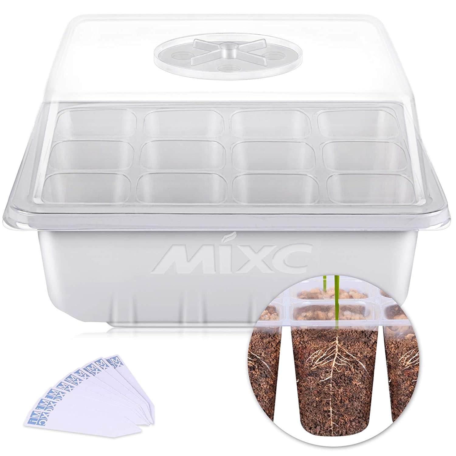 10 Pack Seed Starter Trays, MIXC Seedling Tray Plant Grow Kit Mini Propagator with Humidity Vented Dome and Base for Seeds Starting Greenhouse (12 Cells per Tray) 71gQVRP3v1L