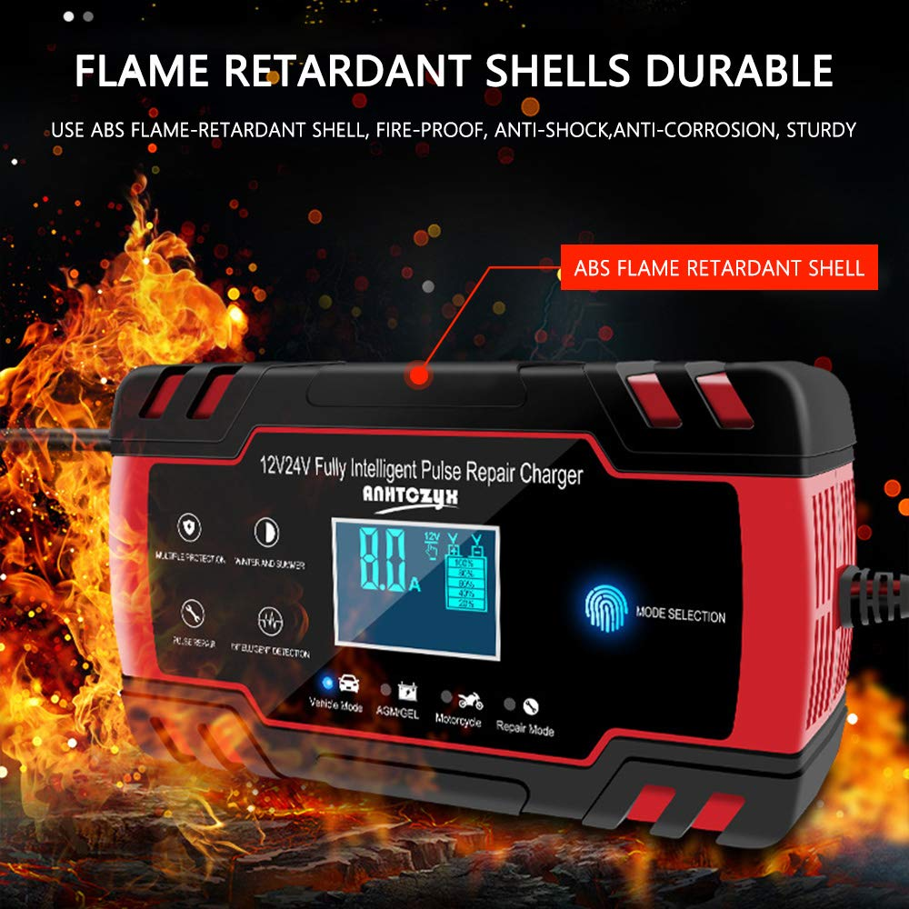 Reddish black Charges, Maintains and Reconditions Car and Motorcycle Batteries Directtyteam Car Battery Charger Lntelligent 12V/&24V car battery charger jump starter