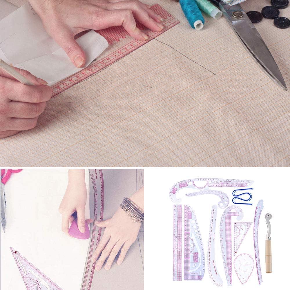 Coupe de couture Dessin et patchwork R/ègle de couture /à faire soi-m/ême Outil de fabrication de patrons Mod/èles courbes fran/çaises Transparent Plastique solide Professionnel