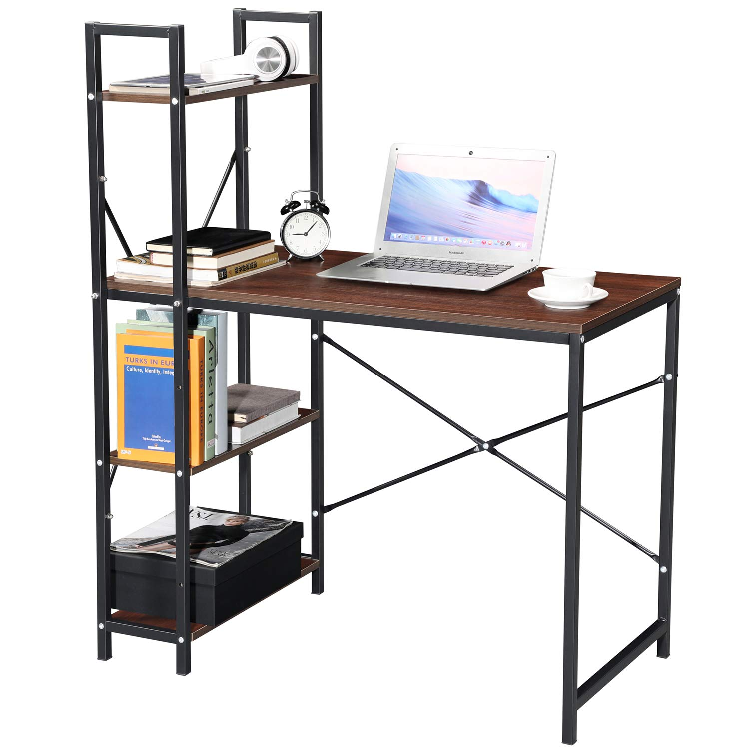 GreenForest Computer Desk with Shelves Industrial Style Workstation with Bookcase Writing Table for Home and Office Walnut by GreenForest
