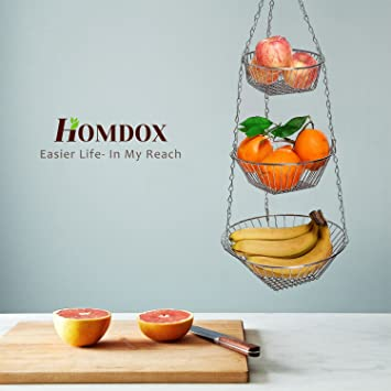 Homdox 3 Tier Hanging Fruit Basket Rack, Premium Quality Kitchen Wire  Vegetable Storage Basket,